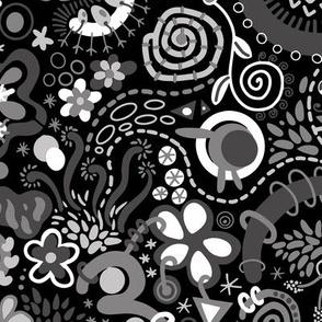 Black White Gray Zendoodle
