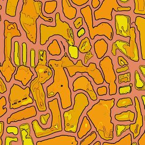 Faux Batik Mosaic Orange - Large Scale 54x48