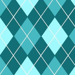 Classic Argyle Plaid in Aqua and Turquoise Blue