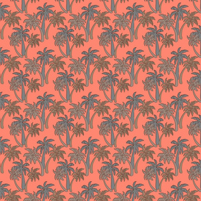 grey palms on coral 4x4
