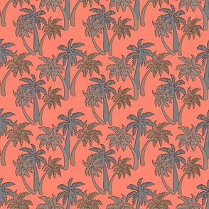 grey palms on coral 6x6