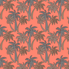 grey palms on coral