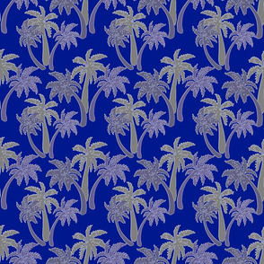 grey palms on navy 6x6