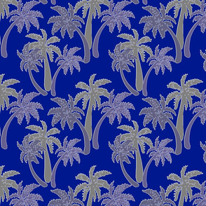 grey palms on navy