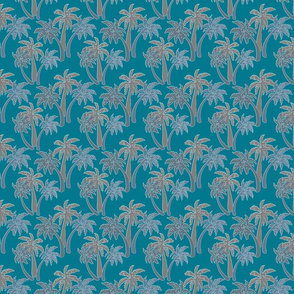 grey palms on teal 4x4
