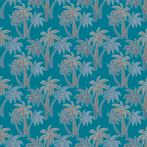 grey palms on teal 6x6