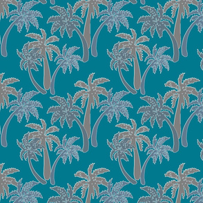 grey palms on teal