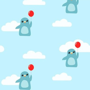 Penguins with Balloons in the Clouds