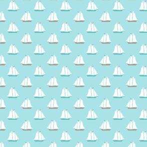 Tiny Sailboats on Blue