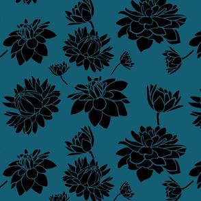 Blooming Dahlia (teal black)