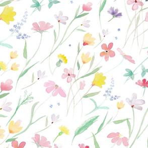 Wild Flowers Light Watercolor Pattern Design