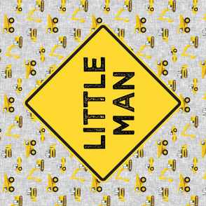 Minky yard panel - Construction Themed - Little Man - Dump truck - LAD19