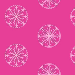 Flower Etched Windows of Rondeletia Pink on Hot and Sassy Pink