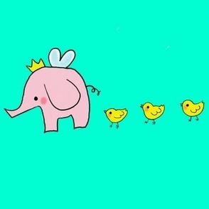 Fairy elephants and tiny yellow chicks on mint