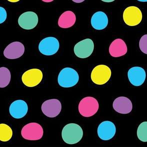 Hand Drawn Polka Dots on Black
