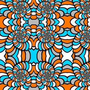 Orange And Blue Puffy Swirls