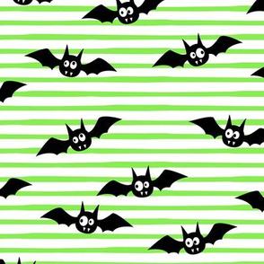 bats - cute halloween - green stripes - LAD19