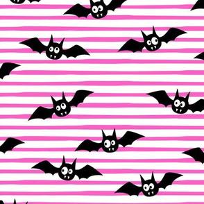 bats - cute halloween - pink stripes - LAD19