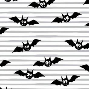bats - cute halloween - grey stripes - LAD19