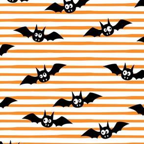 bats - cute halloween - orange stripes - LAD19