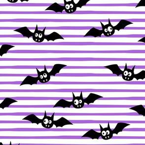 bats - cute halloween - purple stripes - LAD19