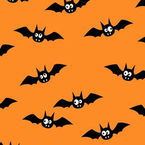 bats - cute halloween - orange - LAD19