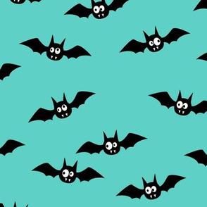 bats - cute halloween - teal - LAD19
