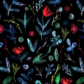 Summer night flowers • painted floral patterns
