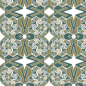 beige and teal pattern
