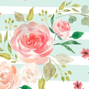 Watercolor Floral (soft mint stripe) Peach Blush Pink Blooms