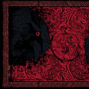 Red Linen Huginn and Muninn Raven Tea Towel