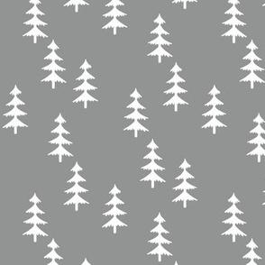 Trees (medium gray) Woodland Forest Fabric
