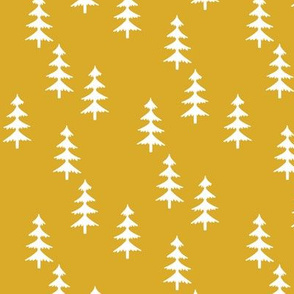 Trees (mustard) Woodland Forest Fabric