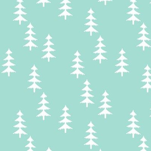 Trees (mint) Woodland Forest Fabric