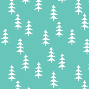 Trees (seagreen) Woodland Forest Fabric