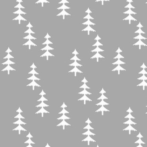 Trees (lighter gray) Woodland Forest Fabric