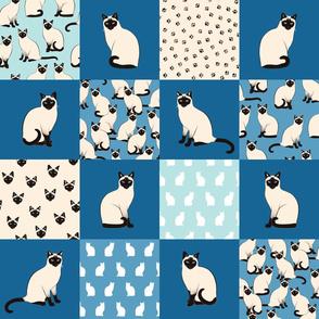 Siamese Cats - Cheater Quilt 6'' dark blue