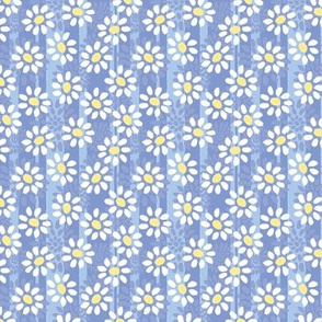 Tiny white daisys on cornflower blue stripes