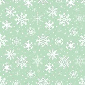 White Snowflakes on Smoky Green