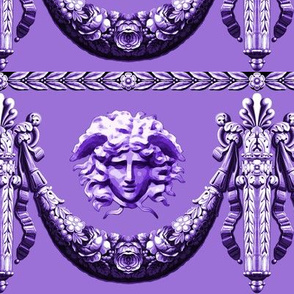 medusa head portrait filigree baroque rococo festoon wreath garland swags flowers floral leaves leaf Versace inspired Victorian purple monochrome flourish pillars ribbons
