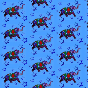 Stain Glass Elephant running on blue background with Stars
