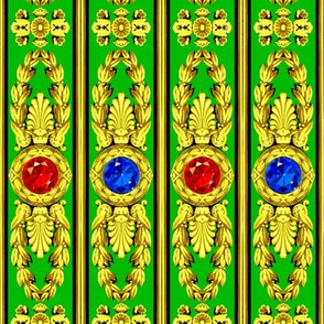 baroque rococo Victorian jewels gemstones gems ruby sapphire medallions round leaves leaf flowers floral acanthus gold yellow red blue green palmette greek roman vertical bars precious stones crystals laurel wreath