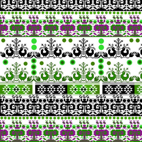 Scandi Aztec (green, aubergine) on white