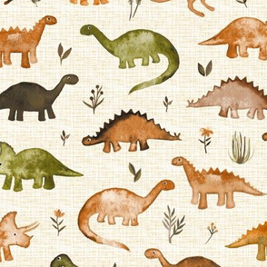 Little Mustard & Olive Green Dinos on textured cream