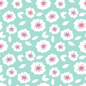Small Freckled Flowers – mint background, bright pink center + black dots