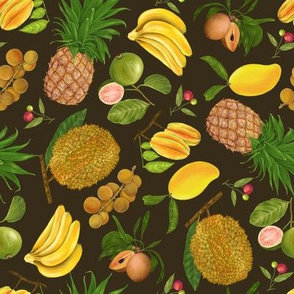 Juicy Tropical Fruits on Brown