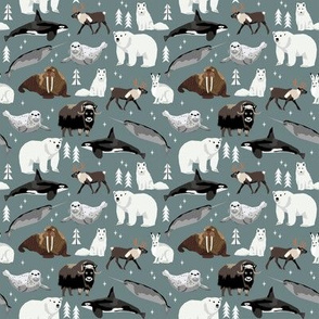 SMALL - arctic animals narwhal polar bear seal whale nature kids nursery fabric medium green/grey