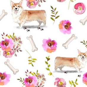 "10"" Pembroke Welsh Corgi dog summer flower fabric, corgi fabric, animal fabric"