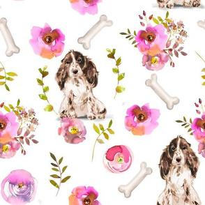 """10"""" Spaniel dog summer flower fabric, Spaniel fabric, animal fabric"""