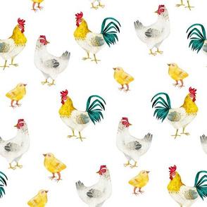 "10"" Nursery Farm Animals Chicken and cock on white, animals fabric, farm fabric"